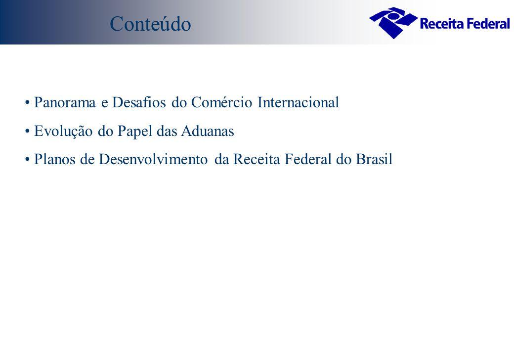 Panorama e Desafios do Comércio Internacional Evolução do Papel das Aduanas Planos de Desenvolvimento da Receita Federal do Brasil Conteúdo