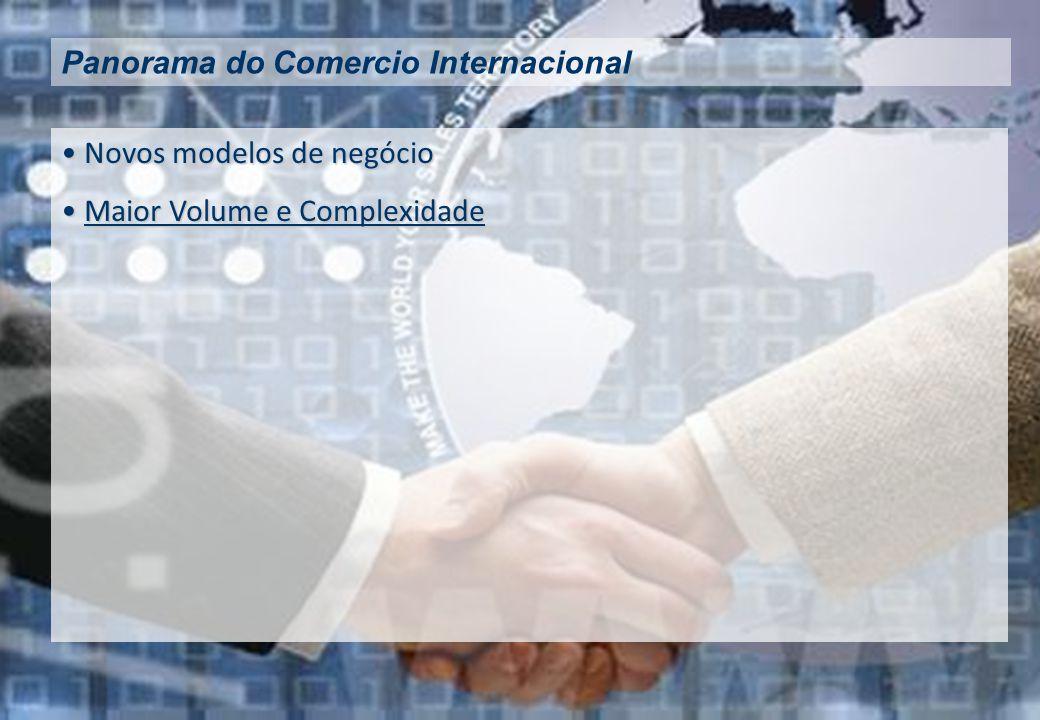 Novos modelos de negócio Novos modelos de negócio Maior Volume e Complexidade Maior Volume e ComplexidadeMaior Volume e ComplexidadeMaior Volume e Complexidade Panorama do Comercio Internacional