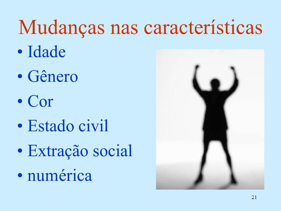 21 Mudanças nas características Idade Gênero Cor Estado civil Extração social numérica
