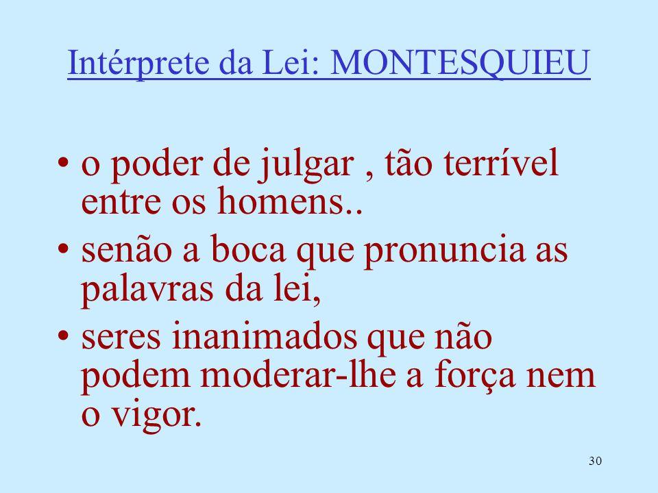 30 Intérprete da Lei: MONTESQUIEU o poder de julgar, tão terrível entre os homens.. senão a boca que pronuncia as palavras da lei, seres inanimados qu