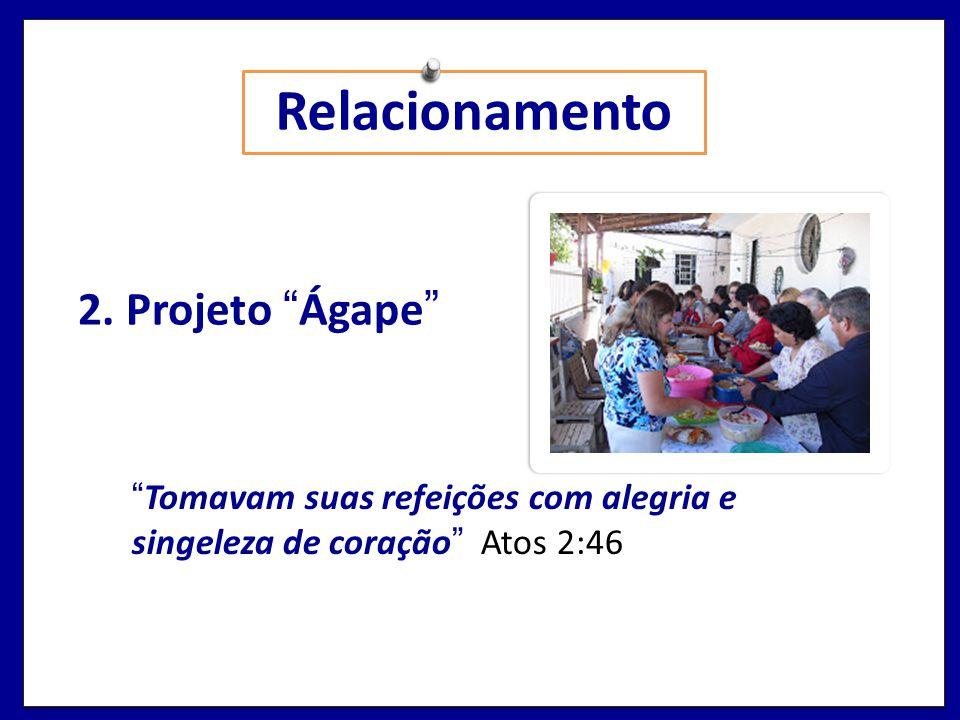 Relacionamento 2. Projeto Ágape Tomavam suas refeições com alegria e singeleza de coração Atos 2:46