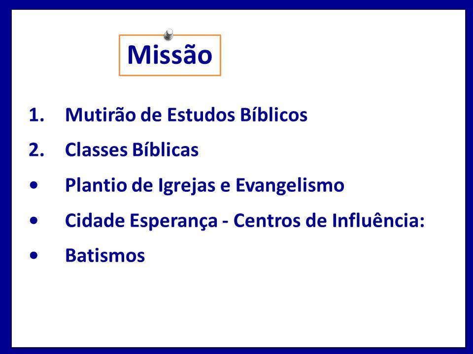 Missão 1.Mutirão de Estudos Bíblicos 2.Classes Bíblicas Plantio de Igrejas e Evangelismo Cidade Esperança - Centros de Influência: Batismos