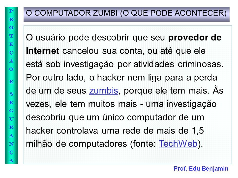 Prof. Edu Benjamin PROTEÇÃOESEGURANÇAPROTEÇÃOESEGURANÇA O COMPUTADOR ZUMBI (O QUE PODE ACONTECER) O usuário pode descobrir que seu provedor de Interne