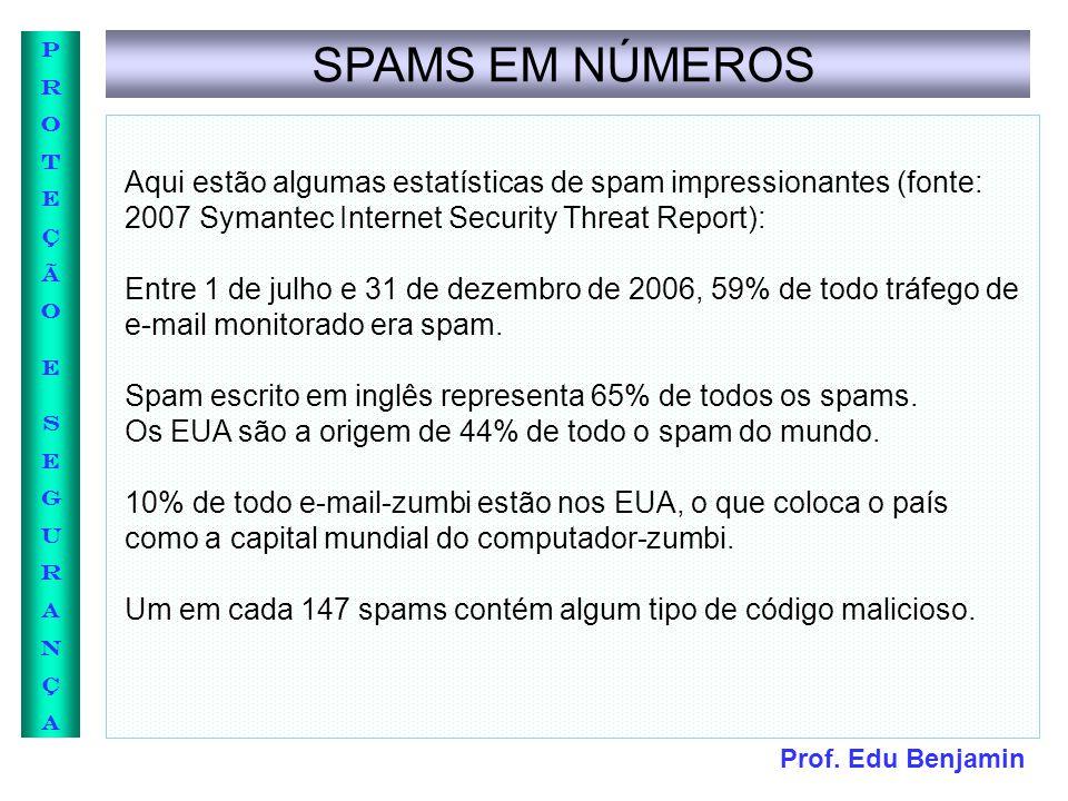 Prof. Edu Benjamin PROTEÇÃOESEGURANÇAPROTEÇÃOESEGURANÇA SPAMS EM NÚMEROS Aqui estão algumas estatísticas de spam impressionantes (fonte: 2007 Symantec