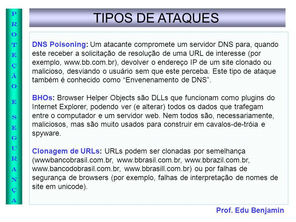 Prof. Edu Benjamin PROTEÇÃOESEGURANÇAPROTEÇÃOESEGURANÇA TIPOS DE ATAQUES DNS Poisoning: Um atacante compromete um servidor DNS para, quando este receb