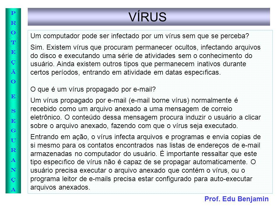 Prof. Edu Benjamin PROTEÇÃOESEGURANÇAPROTEÇÃOESEGURANÇA VÍRUS Um computador pode ser infectado por um vírus sem que se perceba? Sim. Existem vírus que