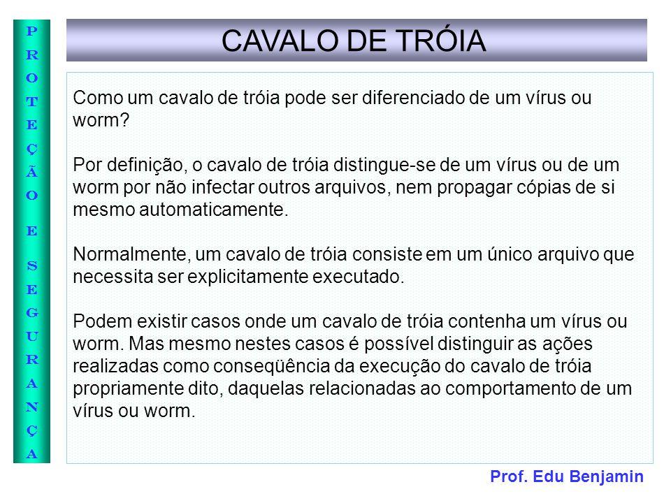 Prof. Edu Benjamin PROTEÇÃOESEGURANÇAPROTEÇÃOESEGURANÇA CAVALO DE TRÓIA Como um cavalo de tróia pode ser diferenciado de um vírus ou worm? Por definiç