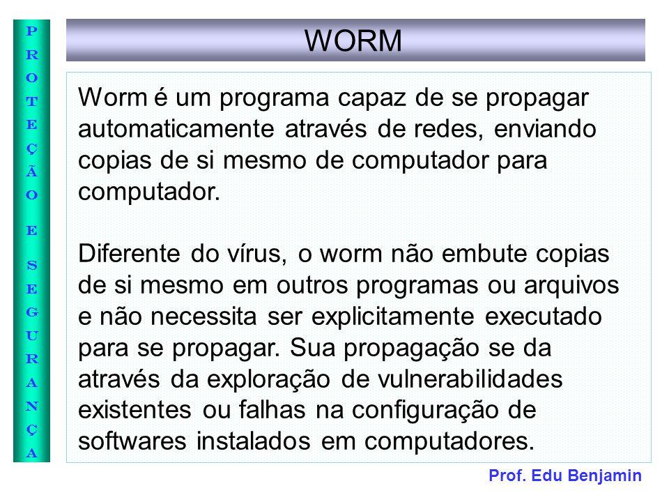 Prof. Edu Benjamin PROTEÇÃOESEGURANÇAPROTEÇÃOESEGURANÇA WORM Worm é um programa capaz de se propagar automaticamente através de redes, enviando copias