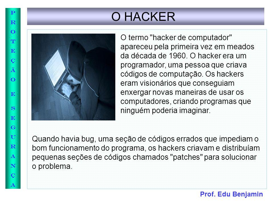 Prof. Edu Benjamin PROTEÇÃOESEGURANÇAPROTEÇÃOESEGURANÇA O HACKER O termo