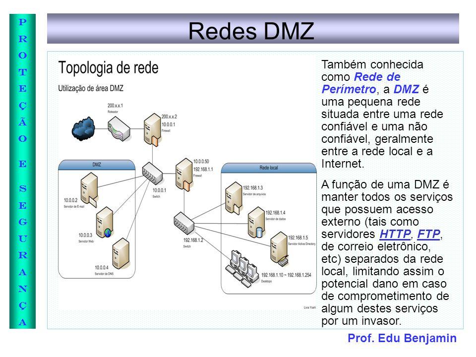 Prof. Edu Benjamin PROTEÇÃOESEGURANÇAPROTEÇÃOESEGURANÇA Redes DMZ Também conhecida como Rede de Perímetro, a DMZ é uma pequena rede situada entre uma