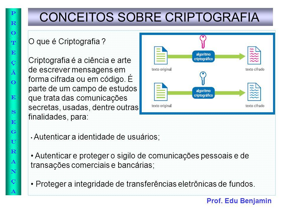 Prof. Edu Benjamin PROTEÇÃOESEGURANÇAPROTEÇÃOESEGURANÇA CONCEITOS SOBRE CRIPTOGRAFIA O que é Criptografia ? Criptografia é a ciência e arte de escreve