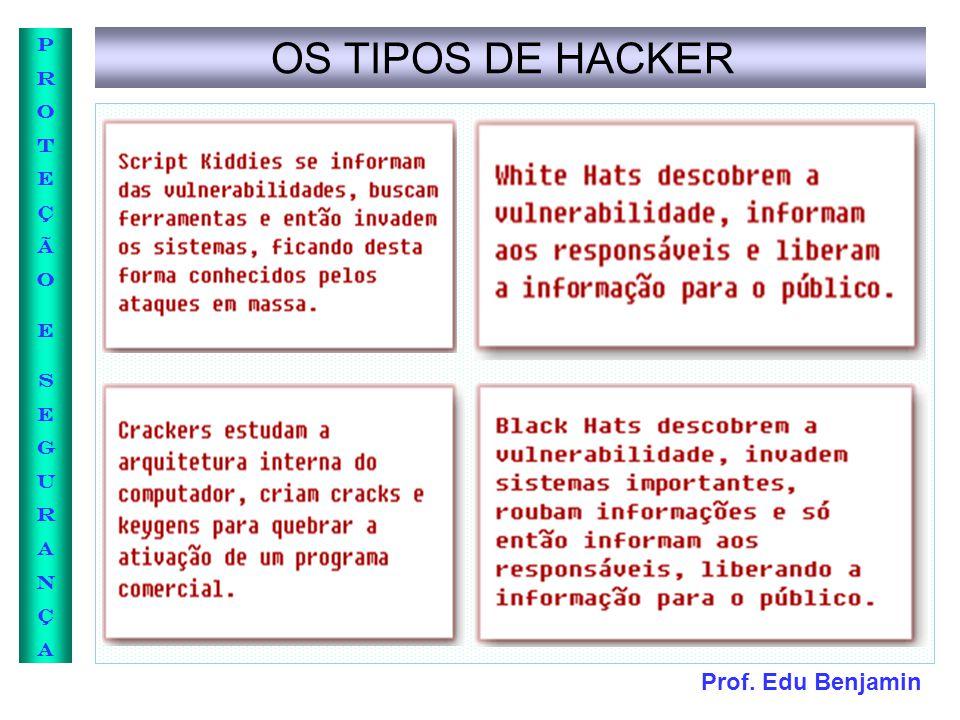 Prof. Edu Benjamin PROTEÇÃOESEGURANÇAPROTEÇÃOESEGURANÇA OS TIPOS DE HACKER