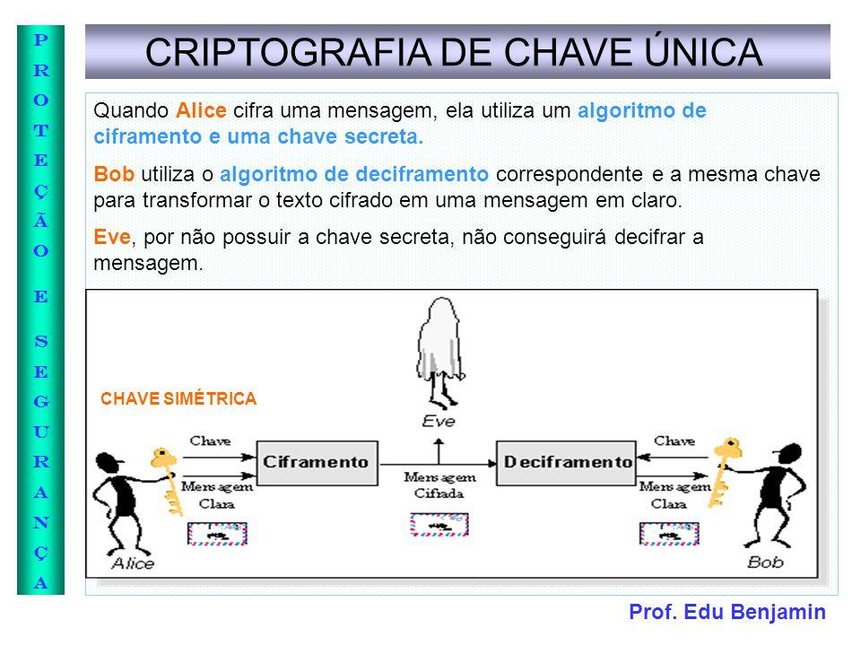 Prof. Edu Benjamin PROTEÇÃOESEGURANÇAPROTEÇÃOESEGURANÇA CRIPTOGRAFIA DE CHAVE ÚNICA Quando Alice cifra uma mensagem, ela utiliza um algoritmo de cifra