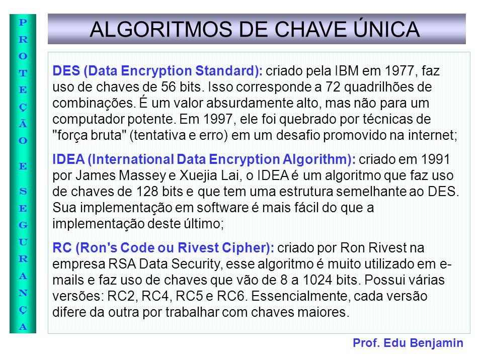 Prof. Edu Benjamin PROTEÇÃOESEGURANÇAPROTEÇÃOESEGURANÇA ALGORITMOS DE CHAVE ÚNICA DES (Data Encryption Standard): criado pela IBM em 1977, faz uso de