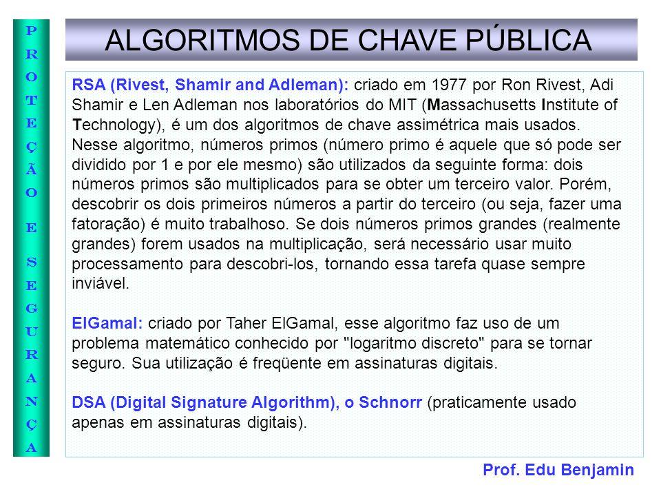 Prof. Edu Benjamin PROTEÇÃOESEGURANÇAPROTEÇÃOESEGURANÇA ALGORITMOS DE CHAVE PÚBLICA RSA (Rivest, Shamir and Adleman): criado em 1977 por Ron Rivest, A
