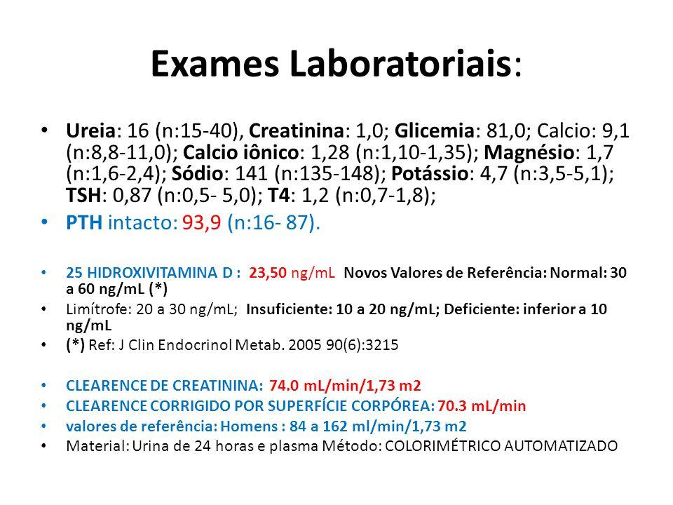 Exames Laboratoriais: Ureia: 16 (n:15-40), Creatinina: 1,0; Glicemia: 81,0; Calcio: 9,1 (n:8,8-11,0); Calcio iônico: 1,28 (n:1,10-1,35); Magnésio: 1,7 (n:1,6-2,4); Sódio: 141 (n:135-148); Potássio: 4,7 (n:3,5-5,1); TSH: 0,87 (n:0,5- 5,0); T4: 1,2 (n:0,7-1,8); PTH intacto: 93,9 (n:16- 87).