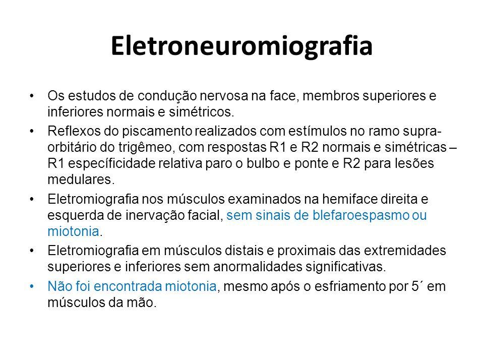 Testes de estimulação repetitiva Estimulação repetitiva de 3 Hz com trens de 10 estímulos de na face (facial/orbicular do olho) e trens de 5 estímulos no membro superior (ulnar/ abductor digiti minimi) direitos: com respostas normais após esforço e após o esfriamento de cinco minutos, ou seja, provocativos para investigar canalopatias ( Brown WF et al, 2002) trens de 10 estímulos de na face (facial/orbicular do olho)