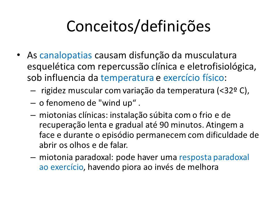 Conceitos/definições Distúrbios congênitos dos canais de sódio podem se expressar como: – paralisia periódica, – miotonia, – paramiotonia congênita, a forma miotonia fluctuans e – sindrome miastênica congenita ( Brown WF et al, 2002) Diferentes genes mutantes do canal de sódio do músculo esquelético humano (SCN4A) no braço longo do cromossomo 17 (17q) levam a variados fenótipos ( Brown WF et al, 2002; McClatchey AL et al, 1992 )