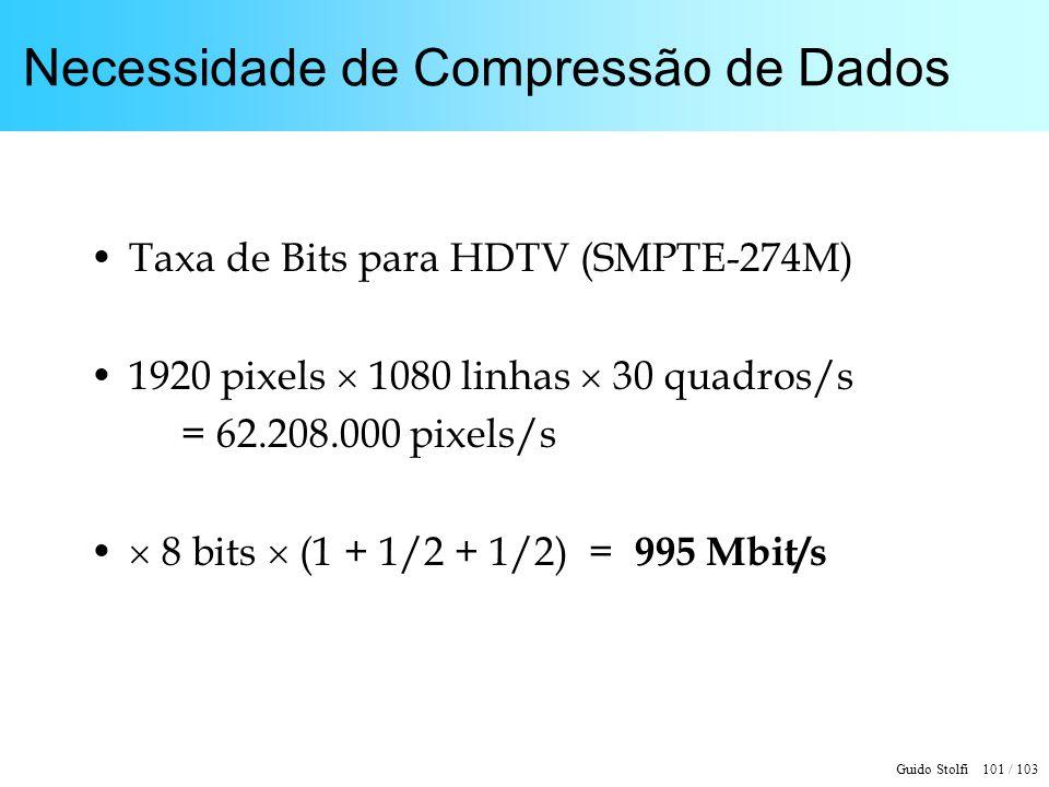 Guido Stolfi 101 / 103 Necessidade de Compressão de Dados Taxa de Bits para HDTV (SMPTE-274M) 1920 pixels 1080 linhas 30 quadros/s = 62.208.000 pixels
