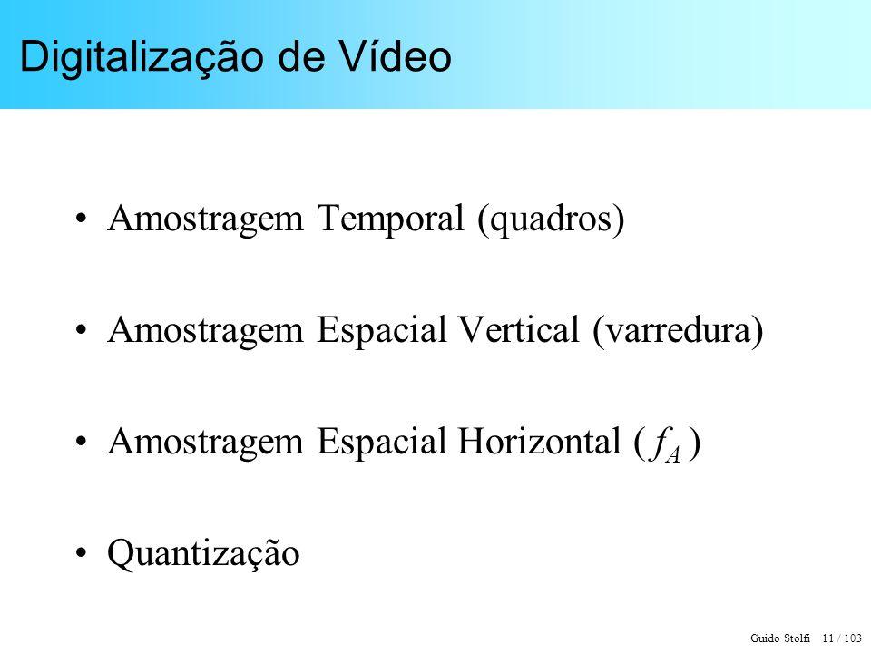 Guido Stolfi 11 / 103 Digitalização de Vídeo Amostragem Temporal (quadros) Amostragem Espacial Vertical (varredura) Amostragem Espacial Horizontal ( f