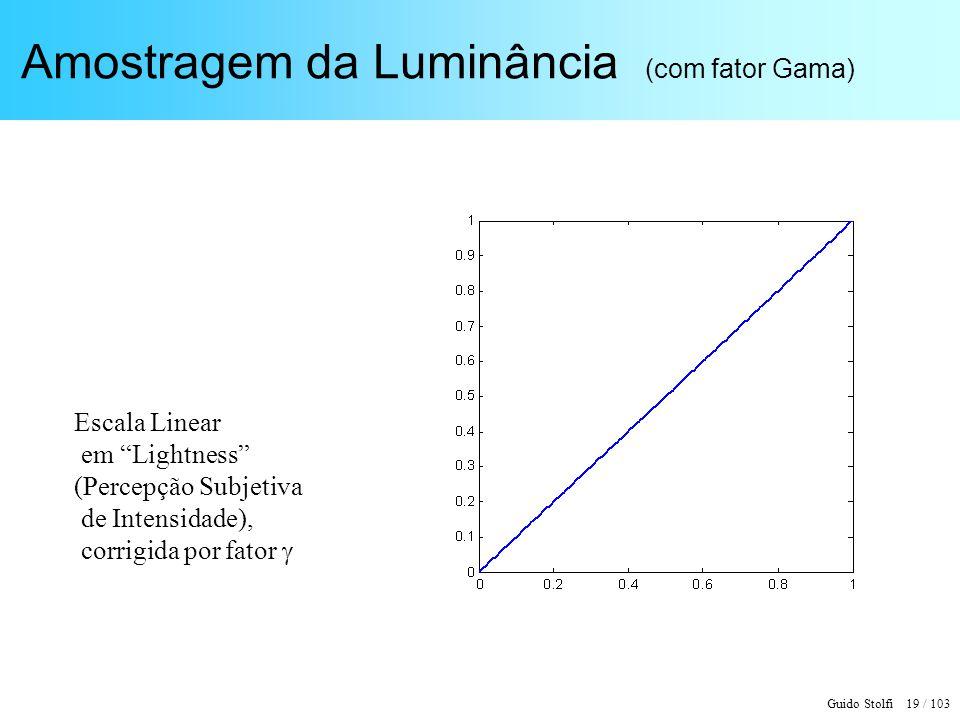 Guido Stolfi 19 / 103 Amostragem da Luminância (com fator Gama) Escala Linear em Lightness (Percepção Subjetiva de Intensidade), corrigida por fator
