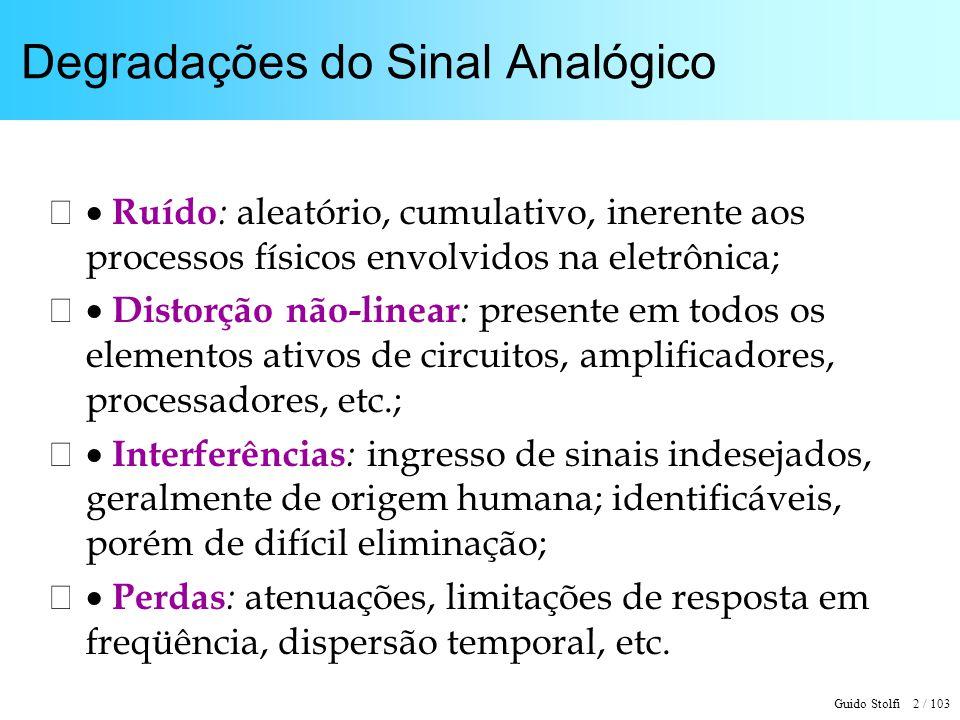 Guido Stolfi 2 / 103 Degradações do Sinal Analógico Ruído : aleatório, cumulativo, inerente aos processos físicos envolvidos na eletrônica; Distorção
