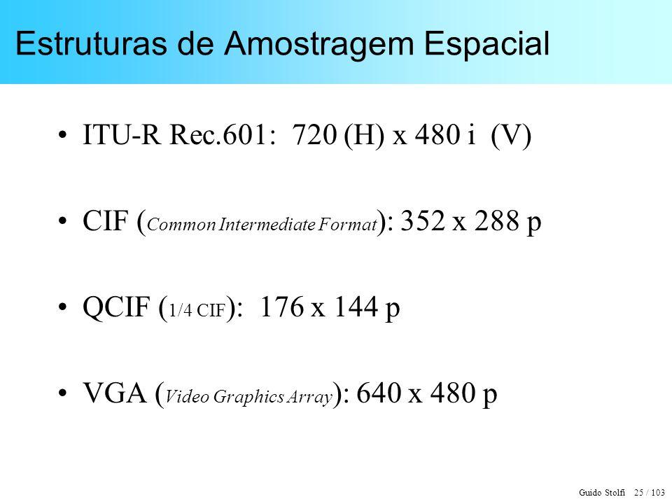 Guido Stolfi 25 / 103 Estruturas de Amostragem Espacial ITU-R Rec.601: 720 (H) x 480 i (V) CIF ( Common Intermediate Format ): 352 x 288 p QCIF ( 1/4