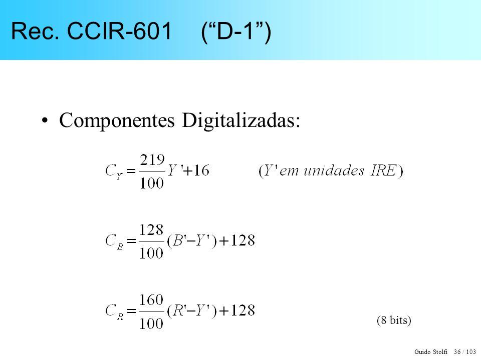 Guido Stolfi 36 / 103 Rec. CCIR-601 (D-1) Componentes Digitalizadas: (8 bits)