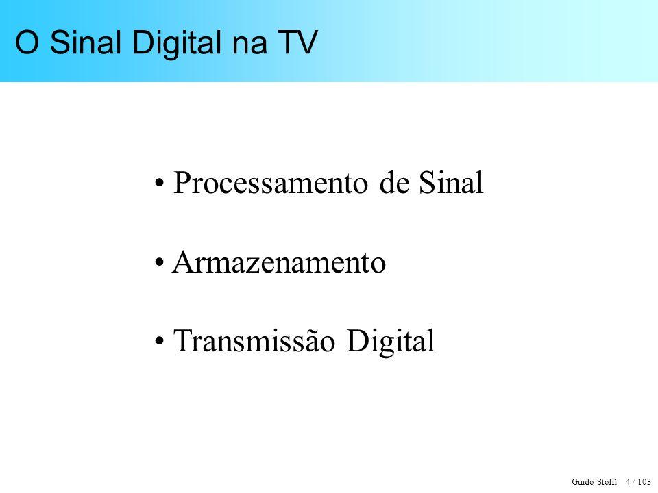 Guido Stolfi 4 / 103 O Sinal Digital na TV Processamento de Sinal Armazenamento Transmissão Digital