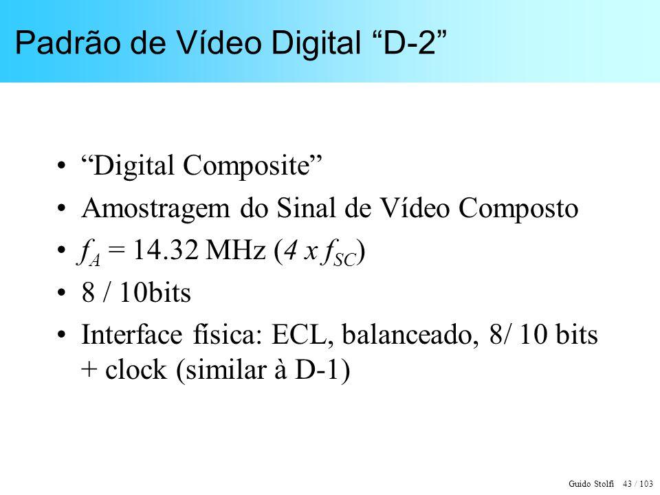 Guido Stolfi 43 / 103 Padrão de Vídeo Digital D-2 Digital Composite Amostragem do Sinal de Vídeo Composto f A = 14.32 MHz (4 x f SC ) 8 / 10bits Inter