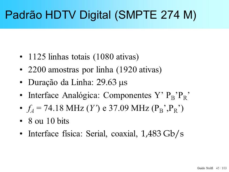 Guido Stolfi 45 / 103 Padrão HDTV Digital (SMPTE 274 M) 1125 linhas totais (1080 ativas) 2200 amostras por linha (1920 ativas) Duração da Linha: 29.63