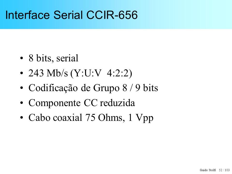 Guido Stolfi 52 / 103 Interface Serial CCIR-656 8 bits, serial 243 Mb/s (Y:U:V 4:2:2) Codificação de Grupo 8 / 9 bits Componente CC reduzida Cabo coax