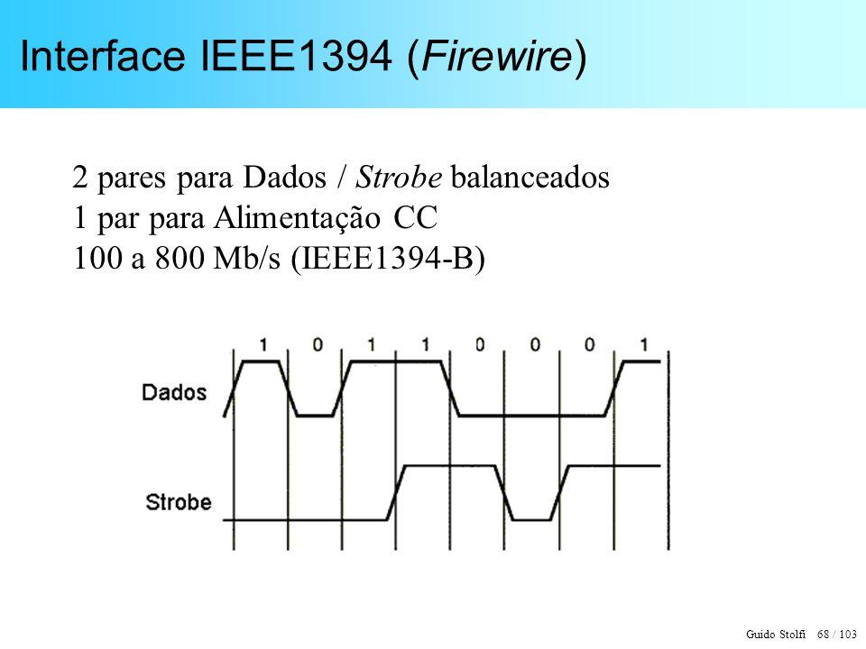 Guido Stolfi 68 / 103 Interface IEEE1394 (Firewire) 2 pares para Dados / Strobe balanceados 1 par para Alimentação CC 100 a 800 Mb/s (IEEE1394-B)