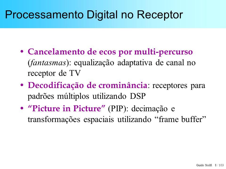 Guido Stolfi 8 / 103 Processamento Digital no Receptor Cancelamento de ecos por multi-percurso (fantasmas): equalização adaptativa de canal no recepto