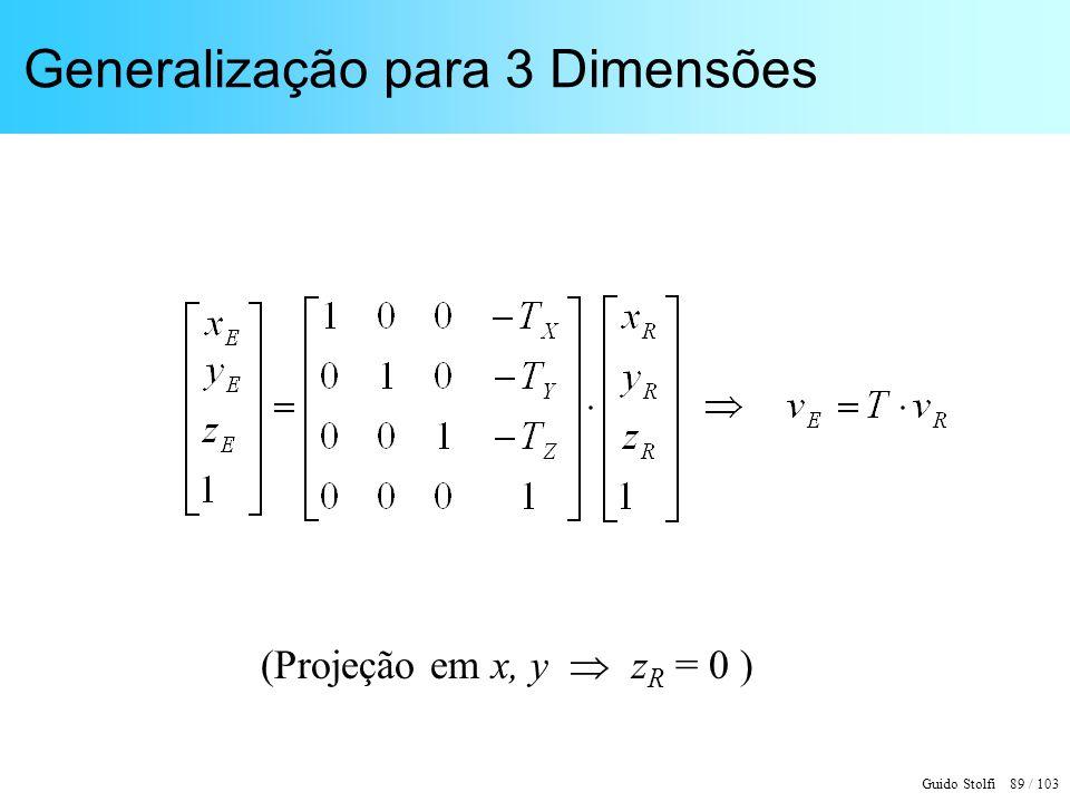 Guido Stolfi 89 / 103 Generalização para 3 Dimensões (Projeção em x, y z R = 0 )