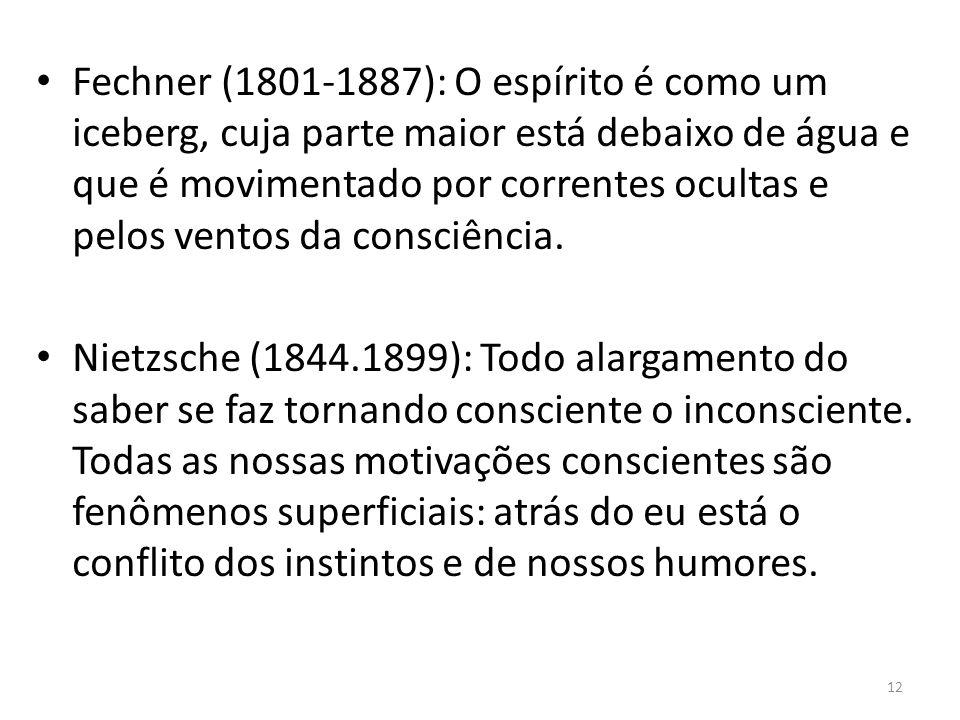 Fechner (1801-1887): O espírito é como um iceberg, cuja parte maior está debaixo de água e que é movimentado por correntes ocultas e pelos ventos da consciência.