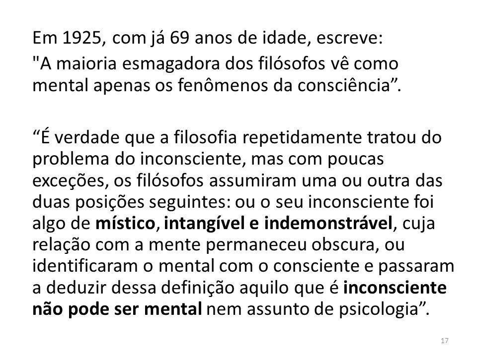 Em 1925, com já 69 anos de idade, escreve: A maioria esmagadora dos filósofos vê como mental apenas os fenômenos da consciência.