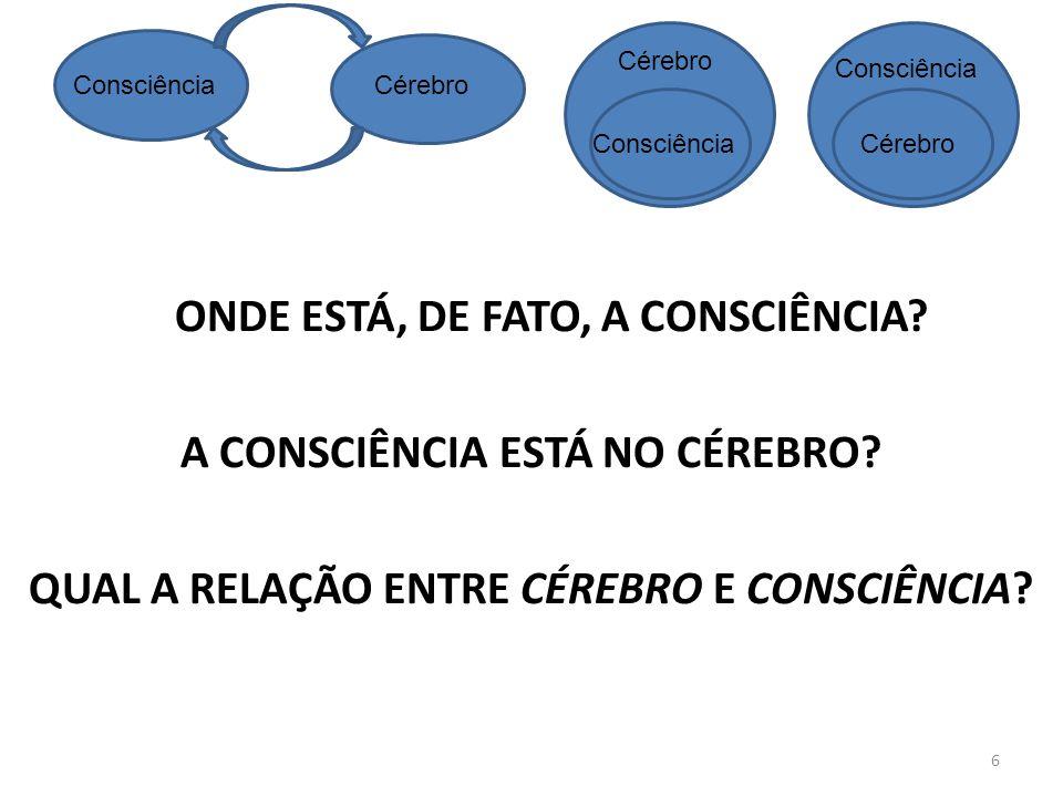 ConsciênciaCérebro Consciência Cérebro ONDE ESTÁ, DE FATO, A CONSCIÊNCIA.