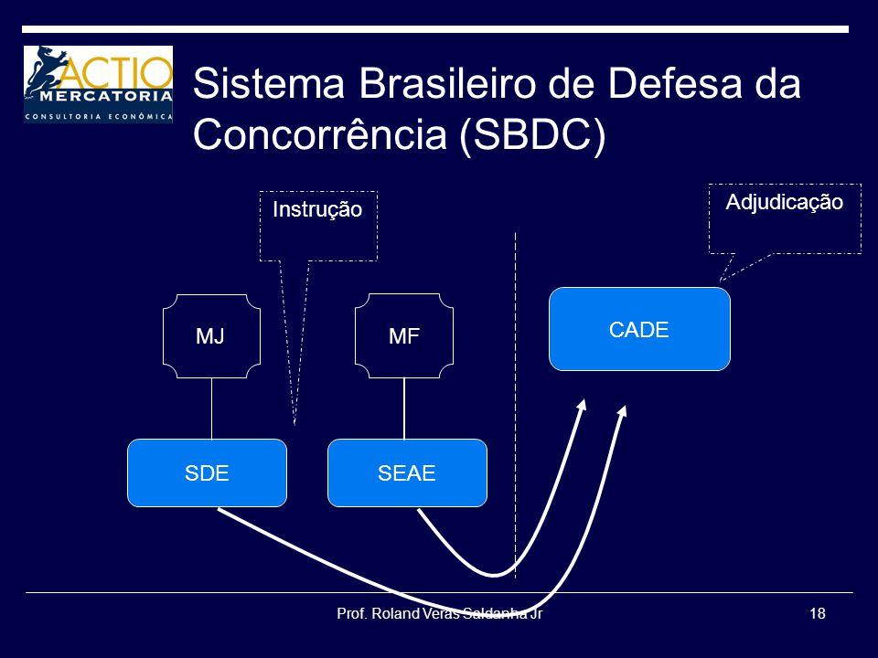 Prof. Roland Veras Saldanha Jr18 Sistema Brasileiro de Defesa da Concorrência (SBDC) SDE CADE SEAE MF MJ Instrução Adjudicação