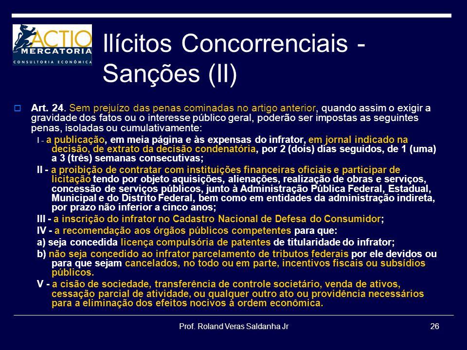 Prof. Roland Veras Saldanha Jr26 Ilícitos Concorrenciais - Sanções (II) Art. 24. Sem prejuízo das penas cominadas no artigo anterior, quando assim o e
