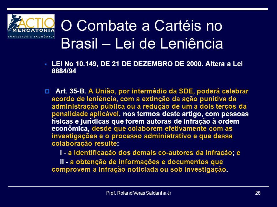 Prof. Roland Veras Saldanha Jr28 O Combate a Cartéis no Brasil – Lei de Leniência LEI No 10.149, DE 21 DE DEZEMBRO DE 2000. Altera a Lei 8884/94 Art.