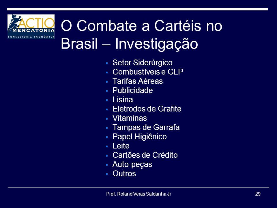 Prof. Roland Veras Saldanha Jr29 O Combate a Cartéis no Brasil – Investigação Setor Siderúrgico Combustíveis e GLP Tarifas Aéreas Publicidade Lisina E