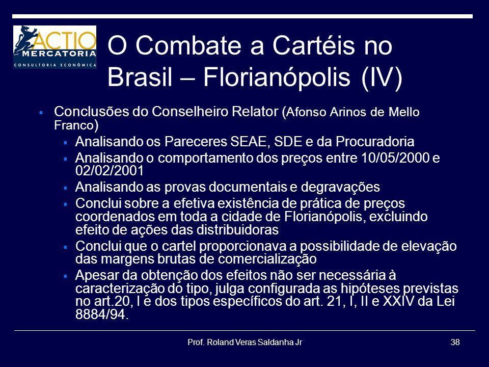 Prof. Roland Veras Saldanha Jr38 O Combate a Cartéis no Brasil – Florianópolis (IV) Conclusões do Conselheiro Relator ( Afonso Arinos de Mello Franco