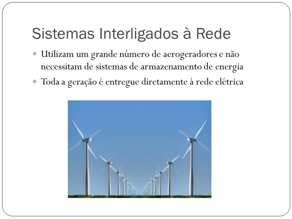 Sistemas Interligados à Rede Utilizam um grande número de aerogeradores e não necessitam de sistemas de armazenamento de energia Toda a geração é entr