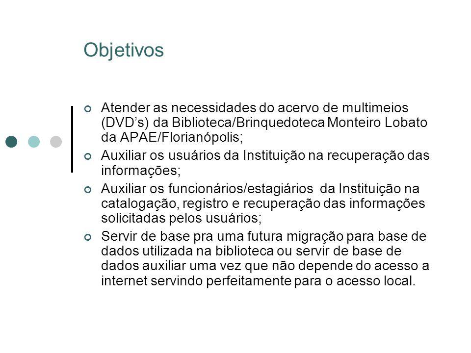 Objetivos Atender as necessidades do acervo de multimeios (DVDs) da Biblioteca/Brinquedoteca Monteiro Lobato da APAE/Florianópolis; Auxiliar os usuári