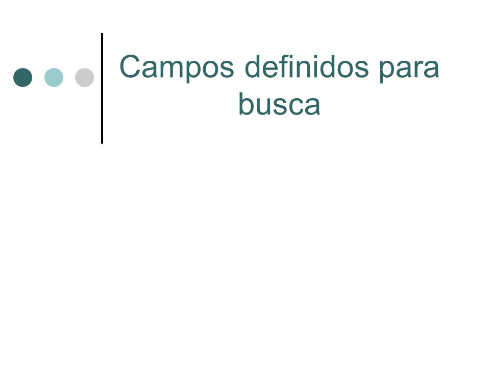 Campos definidos para busca