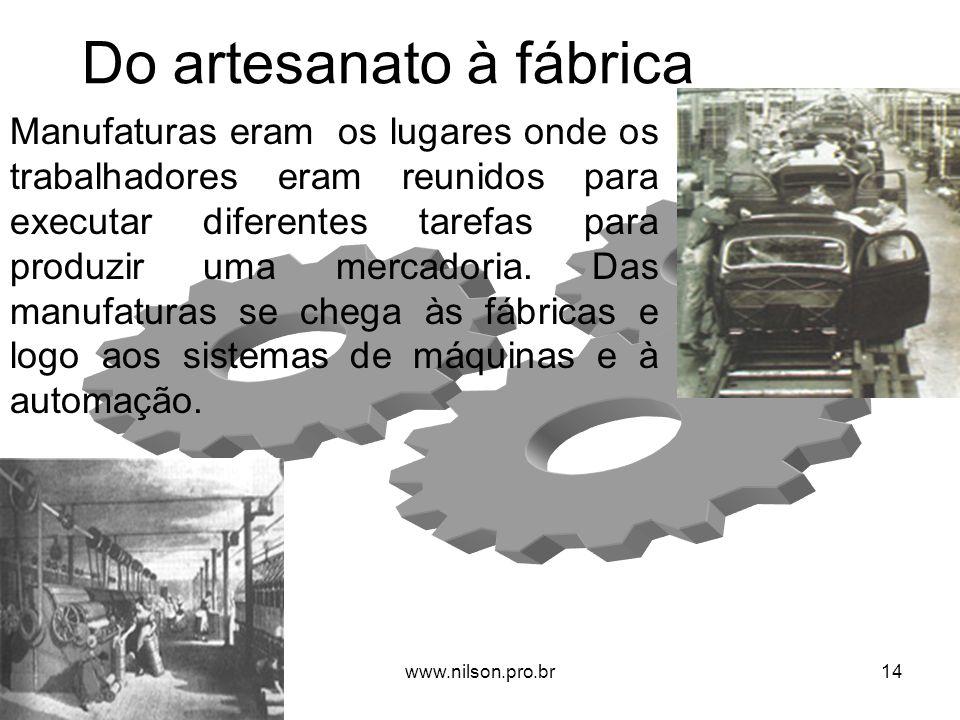Do artesanato à fábrica Manufaturas eram os lugares onde os trabalhadores eram reunidos para executar diferentes tarefas para produzir uma mercadoria.