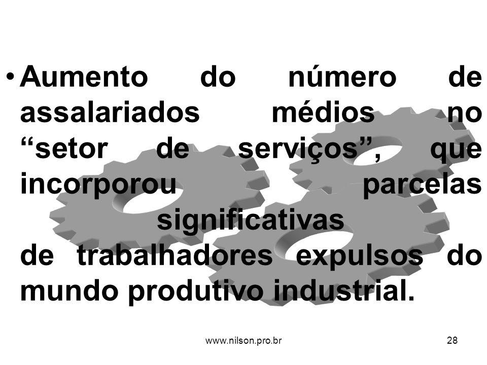Aumento do número de assalariados médios no setor de serviços, que incorporou parcelas significativas de trabalhadores expulsos do mundo produtivo ind