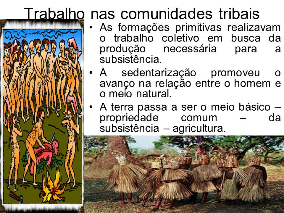 Trabalho nas comunidades tribais As formações primitivas realizavam o trabalho coletivo em busca da produção necessária para a subsistência. A sedenta