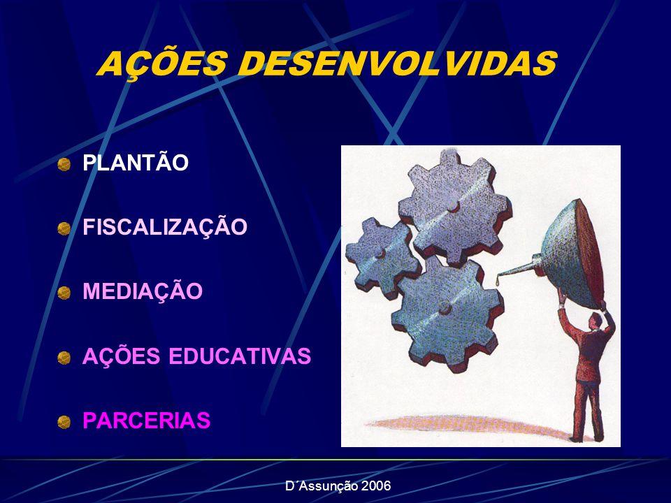 D´Assunção 2006 AÇÕES DESENVOLVIDAS PLANTÃO FISCALIZAÇÃO MEDIAÇÃO AÇÕES EDUCATIVAS PARCERIAS